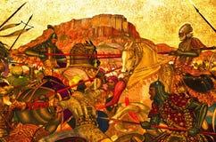 Красочная настенная живопись, расположенная на дворец Umaid Bhawan, Джодхпур, Раджастхан, Индия стоковая фотография rf