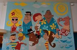 Красочная настенная роспись в зоне обедающего гостиницы на студиях Universal стоковое фото
