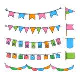 Красочная овсянка, флаги партии, фестиваль, день рождения, иллюстрация вектора украшения праздника иллюстрация вектора