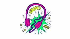 Красочная оживленная иллюстрация наушников в стиле искусства шипучки Звуки громкой музыки от наушников: Заграждение и видеоматериал