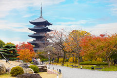 Красочная осень на виске Toji в Киото Стоковое Фото