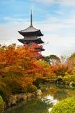 Красочная осень на виске Toji в Киото Стоковые Фотографии RF