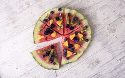 Красочная пицца арбуза тропического плодоовощ Стоковая Фотография