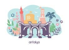 Красочная плоская иллюстрация Анталья вектора, Турция бесплатная иллюстрация
