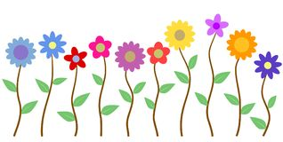 Красочная предпосылка вектора иллюстрации цветка и стержня Стоковое фото RF