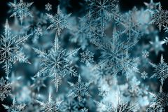 Красочная предпосылка рождества с снежинками и звездами на голубом Стоковые Фото