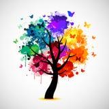 Красочная предпосылка дерева с splat и бабочками краски Стоковые Фотографии RF