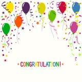 Красочная предпосылка праздника с воздушными шарами и confetti Стоковая Фотография RF