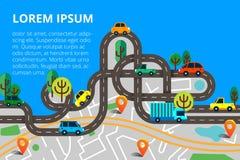 Красочная предпосылка с ландшафтом, дорога и город составляют карту Взгляд сверху стоковое изображение