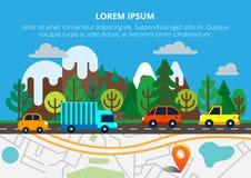 Красочная предпосылка с ландшафтом, дорога и город составляют карту Взгляд сверху стоковое фото