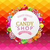 Красочная предпосылка с знаменем конфеты Стоковые Фотографии RF