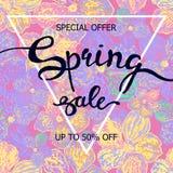 Красочная продажа весны плаката акварели Стоковое Изображение