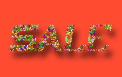 Красочная продажа знамени на красной предпосылке Стоковое Изображение RF