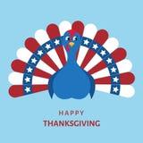 Красочная птица индюка шаржа на счастливое официальный праздник в США в память первых колонистов Массачусетса Стоковые Изображения