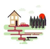 Красочная плоская иллюстрация ландшафта природы дизайна Стоковое Изображение RF