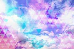 Красочная ретро неоновая предпосылка градиента с геометрической мягкой розовой и голубой картиной иллюстрация вектора