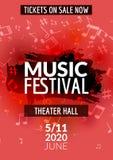 Красочная рогулька шаблона концерта музыкального фестиваля вектора Музыкальный плакат дизайна рогульки с примечаниями Стоковые Фото