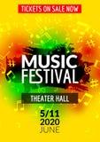 Красочная рогулька шаблона концерта музыкального фестиваля вектора Музыкальный плакат дизайна рогульки с примечаниями Стоковое Изображение