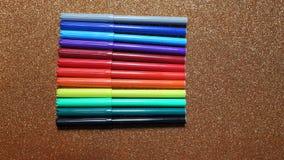 Красочная ручка используемая для того чтобы нарисовать, картина стоковое фото rf