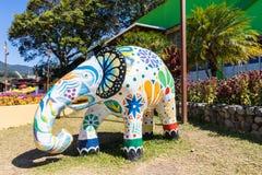 Красочная скульптура Boquete слона стоковые изображения