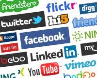 Красочная социальная предпосылка логотипов средств массовой информации [1] иллюстрация штока