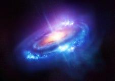 Красочная спиральная галактика в глубоком космосе Стоковые Изображения RF