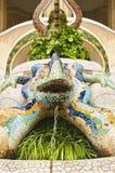 Красочная статуя ящерицы с текущей водой Стоковые Изображения RF