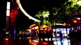 красочная сцена ночи города Китая XiAn & пагоды dayan видеоматериал