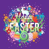 Красочная счастливая поздравительная открытка пасхи с составом яичек цветков и элементов кролика иллюстрация штока