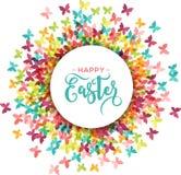 Красочная счастливая поздравительная открытка пасхи и весны, плакат с бабочками иллюстрация вектора