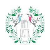 Красочная счастливая поздравительная открытка пасхи с флористическим декоративным ornam Стоковое фото RF