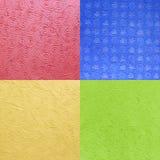 Красочная текстура бумаги шелковицы, красный цвет, синь, желтый цвет, зеленый Стоковые Фото