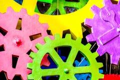 Красочная текстура cog зацепляет колеса крупного плана Стоковое Изображение