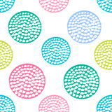 Красочная текстурированная картина круга безшовная, синь, пинк, зеленая круглая точка польки grunge, упаковочная бумага иллюстрация вектора