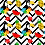 Красочная тропическая безшовная иллюстрация предпосылки картины вектора с toucan, цветками, арбузом и ананасом иллюстрация вектора