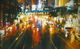 Красочная улица города на ноче Стоковое Изображение