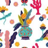 Красочная флористическая проиллюстрированная безшовная повторяя картина иллюстрация штока