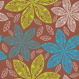 Красочная флористическая безшовная картина в стиле шаржа. иллюстрация вектора