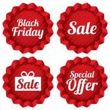 Красочная черная пятница, продажа, ярлыки специального предложения Стоковые Изображения