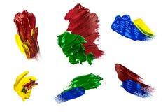 Красочная щетка цвета воды гладит рукой Стоковая Фотография RF