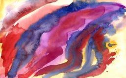 Красочная яркая линия красит абстрактной покрашенную рукой предпосылку акварели Стоковые Изображения RF