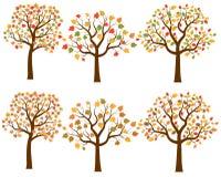 Красочное дерево осени silhouettes собрание вектора Бесплатная Иллюстрация
