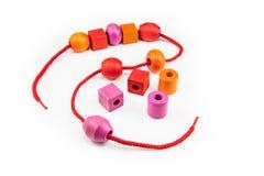Красочное деревянное ожерелье шариков Стоковые Изображения
