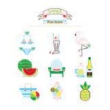 Красочное лето потехи, плодоовощ, и установленные значки пляжа Стоковая Фотография