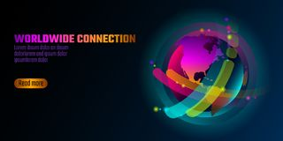 Красочное живое знамя формы планеты глобуса Формы неона градиента космоса виртуальной реальности радужные жидкие жидкостный выпле Стоковое Изображение RF