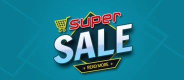 Красочное знамя продажи Супер надпись продажи все любые могут различные легко редактируемые графики формы индивидуально наслаиваю стоковое изображение rf