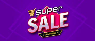 Красочное знамя продажи Супер надпись продажи все любые могут различные легко редактируемые графики формы индивидуально наслаиваю Стоковые Фото