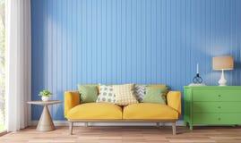 Красочное изображение перевода живущей комнаты 3d Стоковые Изображения