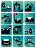 Красочное квартиры значков собаки установленное Стоковое Изображение RF