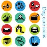 Красочное квартиры значков собаки установленное Стоковые Изображения